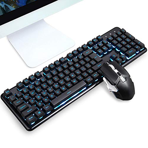 Wireless Mouse Keyboard Kit, Wireless Backlight Set Charging, Support Breathing Light, Intelligent Power Saving, For PC/Laptop, For Home, Office, Game(Blauw)