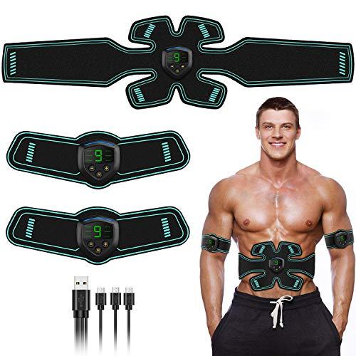 FYLINA Muskelstimulation, Stimulation, EMS-Trainingsgerät, Professioneller USB-Muskelstimulator, Bauchtrainer, Elektrischer Stunner für Damen und Herren, Grün