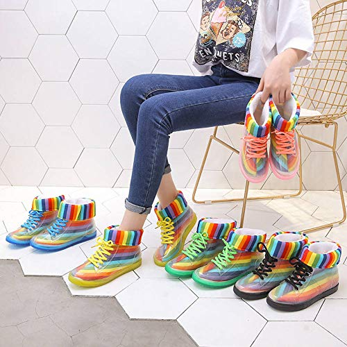 Bottes De Pluie Femme,Bottes De Pluie pour Femmes Couvre-Chaussures avec Coussin en Coton Arc-en-Ciel À Lacets Imperméable Antidérapant Résistant À l'usure Wellington Bottes De Pluie pour Femmes