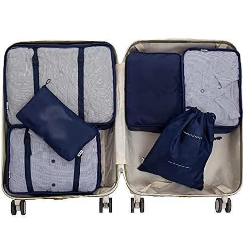 FVIWSJ 6 Set Organizadores para Maletas para Mochila y Maletas Cubos de Embalaje de Viaje Transpirable con Bolsa de Zapatos, Bolsa de Cosméticos y Bolsa de Lavandería,Dark Blue