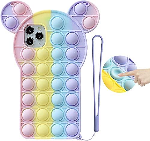 Pop it Phone Case Fidget Samsung Galaxy S21 3D Cute Cartoon MouseEars Push Pop Bubble Sensory Fidget Toy Stress Relief Rainbow Silicone Protective Case for Boys Girls Men Women