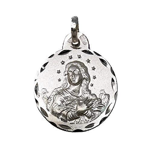 Medalla Plata Ley 925M Virgen Purísima Inmaculada Concepción 19mm. Cerco Tallado - Personalizable - Grabación Incluida En El Precio