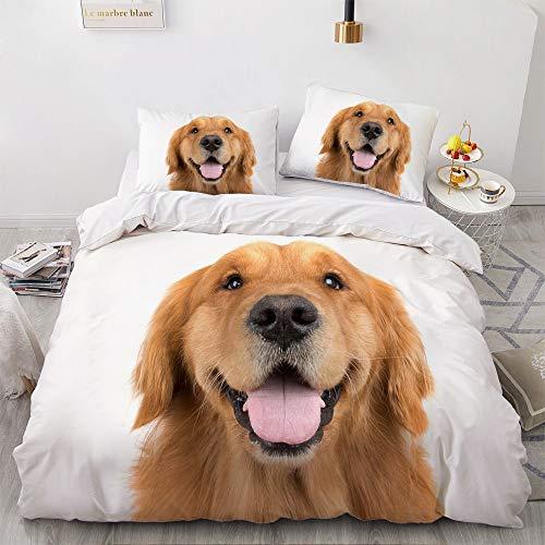 Mscomft - Juego de funda de edredón y funda de almohada con diseño de animales, efecto 3D, con funda de edredón y funda de almohada para cama individual, doble (tamaño A4, 135 x 200 cm)