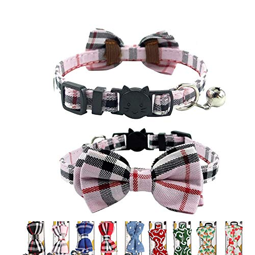 THAIN Cat Collar Breakaway with Bell and Bow Tie Safety Buckle with Name Tag Pink Plaid Pattern Adjustable 7-11 inches for Kitten Cats(Pink Plaid)