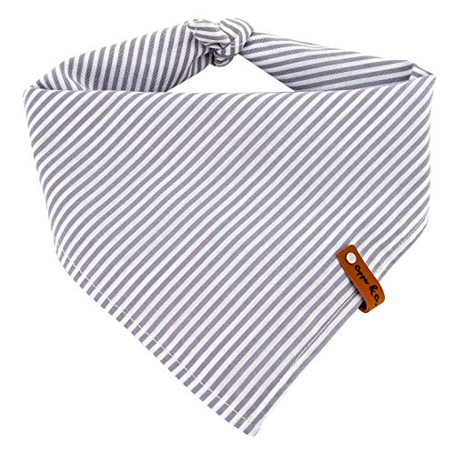 Copper and Co. Dog Bandana, 100% Cotton Pet Scarf, Unisex Dog Kerchief for Boy & Girl Dogs, Washable 2 Layer Fabric with Leather Tag, 17.5 Inches Square, Grey and White Stripe