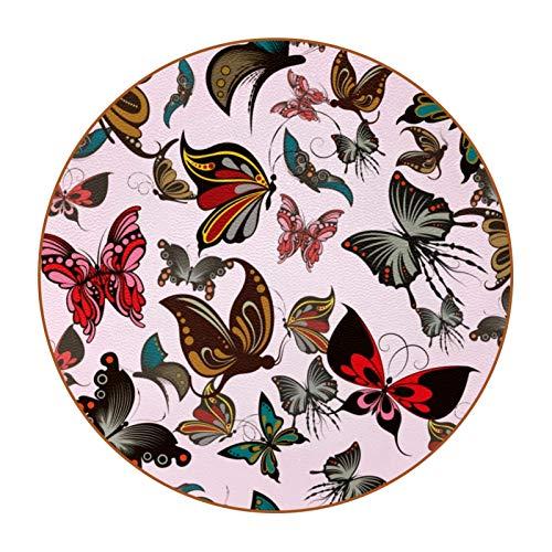 6 posavasos divertidos para bebidas, varios estilos, adecuado para vasos de cerveza, vasos de café, tazas diarias, diseño de mariposa, color rosa
