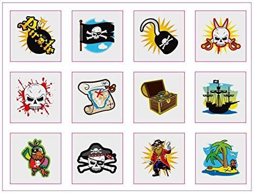 The Home Fusion Company 6 Confezioni di 12 Bambini Pirata Ragazzi Tatuaggi Temporanei Festa Riempi-Pinata 72 in Totale