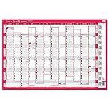 Sasco 2021 - Planificador de pared vertical para año con rotulador húmedo y adhesivo, color rojo, estilo de póster, 915 W x 610 H mm, 2410131