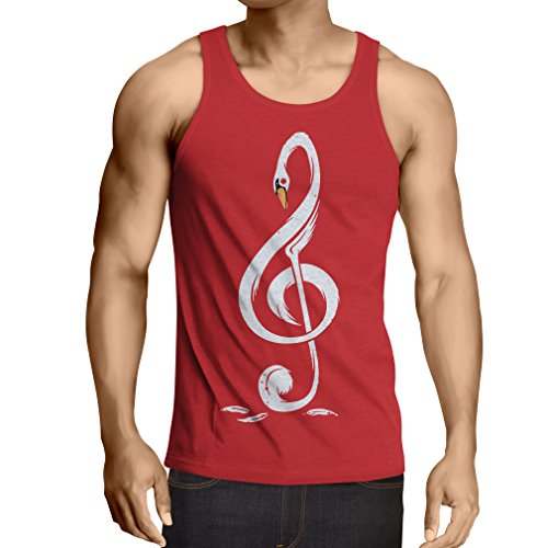 N4369V Camiseta sin Mangas G Clave Musical (X-Large Rojo Multicolor)