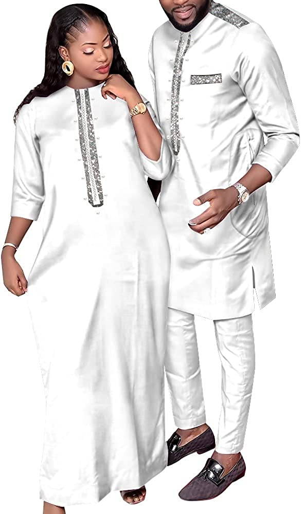 Fashion Couple Clothes Bazin Riche African Style Clothes for Lovers Women Robe Dresses and Dashiki Men Suit 2 Pcs Set