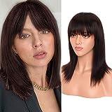 S-noilite Peluca de pelo humano recto con flequillo corto BOB peluca brasileña...