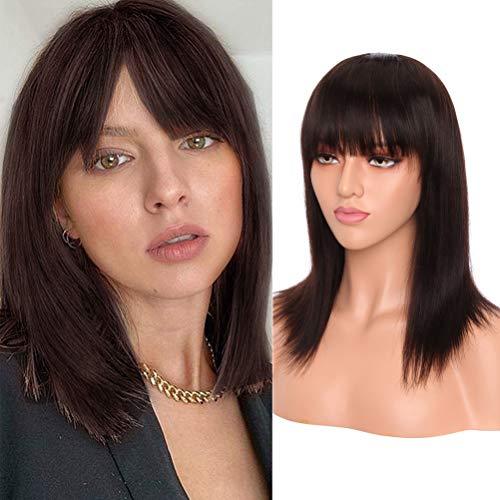 S-noilite - Parrucca corta con capelli umani lisci con frangia brasiliani, capelli vergini, castano scuro, senza pizzo, con cappuccio regolabile (40,6 cm)