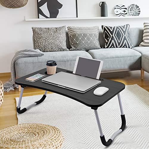 Mesa de cama para ordenador portátil, bandeja de desayuno con patas plegables, escritorio portátil de pie, soporte de lectura, soporte de lectura para sofá o suelo para niños, tamaño estándar