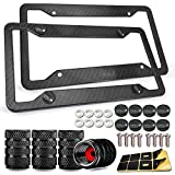 Carbon Fiber License Plate Frame- 2 Pack Black Aluminum Front & Rear Auto Car Tag Holder, Heavy Duty Bracket with Mount Hardware, Stainless Steel Screws, Caps, Rattle Proof Pads, Tire Valve Cover