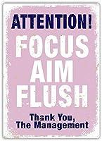 フォーカスエイムフラッシュウォールメタルポスターレトロプラーク警告ブリキサインヴィンテージ鉄絵画装飾オフィスの寝室のリビングルームクラブのための面白いハンギングクラフト