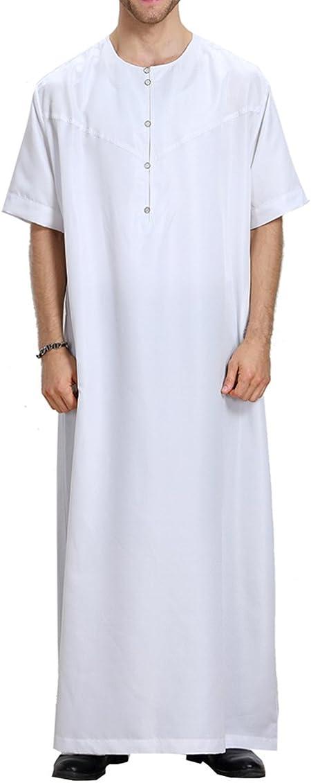 Camisa de Vestir Musulmán para Hombres de Manga Corta Kaftan Middle East Abaya Robe S-XXXL