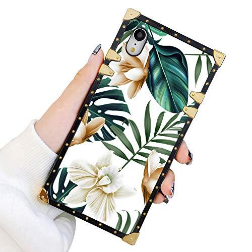 Schutzhülle für iPhone XR, luxuriös, elegant, weiches TPU, stoßfest, Metall-Dekoration, Eckschale, iPhone XR Hülle 15,2 cm, Green Leaves with White & Brown Flowers