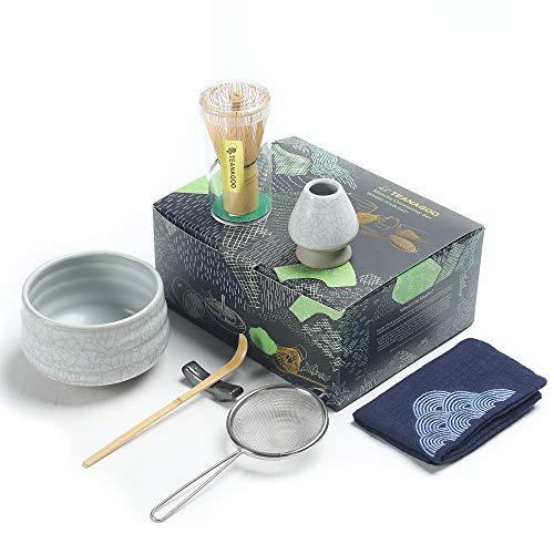 Juego de té japonés TEANAGOO, juego de batidor Matcha, batidor de bambú Matcha Bowl (chasen), pala (chashaku), soporte para batidor, kit para preparar té, N5, té verde matcha en polvo.