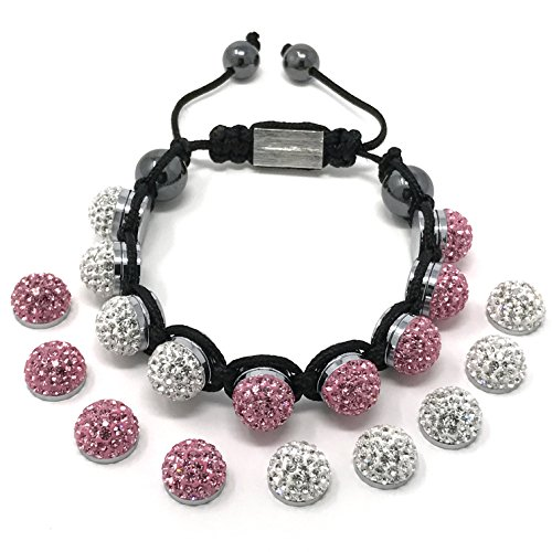 Shimla Jewellery SH 110 - Bracciale unisex con cristallo, metallo e tessuto, 200 mm