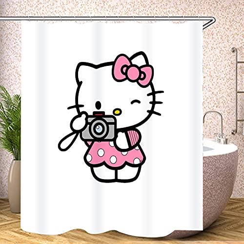 Fgolphd Hello Kitty Duschvorhang 120x200 180x200180x180 200x240 Pink Bunt Blau Textil Blätter Badezimmerteppich 4-teiliges Set,Shower Curtains Waschbar (120 x 200 cm,14)