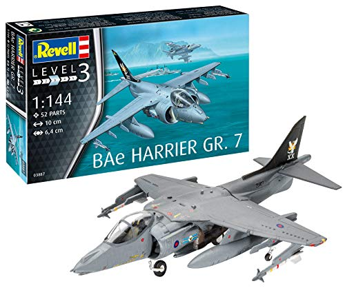 Revell- Bae Harrier GR.7 Kit di Modelli in plastica, Multicolore, 1/144, 03887