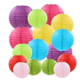 16 Pcs Colorful Paper Lanterns (Sizes of 4',6', 8', 10')-Chinese/Japanese Paper Lantern Lamps for Home Decoration, Parties, Birthdays,Events,Weddings,Halloween, Christmas (Multi-Colored)