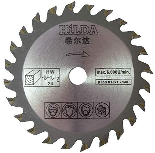 Hoja de sierra circular compatible con sierra de inmersión Parkside (exclusiva para Lidl) 85 mm de diámetro x 10 mm de diámetro x 24 T hoja de corte de madera