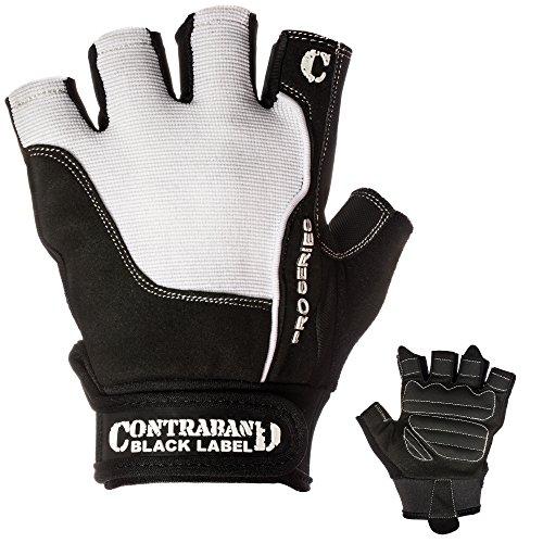 Contraband Black Label 5120 Pro Series Amara Leather Lifting Gloves w/Jar Grip Palm- Durable Light - Medium Padded Amara Leather Gym Gloves - Perfect Classic Lifting Gloves (Pair) (White, Medium)
