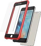 Mobilyos Funda iPhone 6s Plus 360 Grados + Vidrio Templado, [Bumper Flexible Antigolpes ] [ Rojo y Negro ] Funda iPhone 6 Plus Integral con Trasera Transparente Tintada