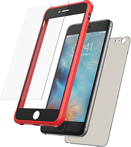 Mobilyos Cover iPhone 6s Plus 360 Gradi + Protezione in Vetro temperato, [Antiurto, Silicone Morbido Antishock ] [ Rosso e Nero ] Custodia iPhone 6 Plus / 6s Plus con Parte Posteriore Trasparente