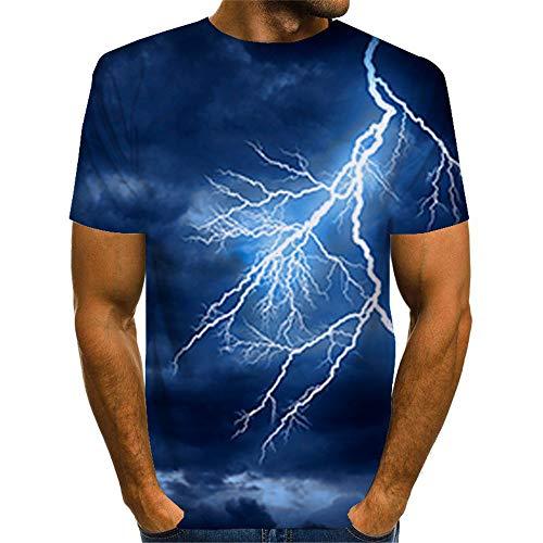 CFWL Schneeflockenserie 3D-Digitaldruck Herren Kurzarm Top Sommer Atmungsaktives T-Shirt Bluse Kurzarm Sommer 3D Druck Sweatshirt Kurzarmhemd Slim Fit Motive Blue XXXL