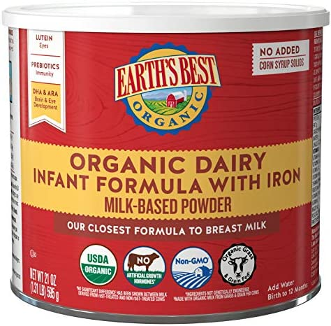 Earth's Best Organic Dairy Infant Powder Formula with Iron, Omega-3 DHA and Omega-6 ARA, 21 oz