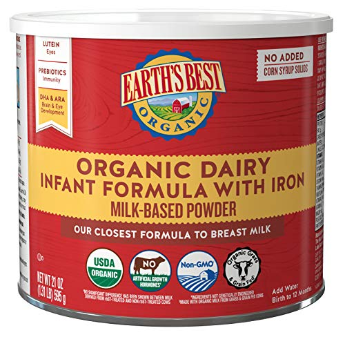 Earth's Best Organic Dairy Infant Powder Formula with Iron, Omega-3 DHA and Omega-6 ARA, 21 oz