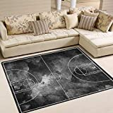 ALAZA Abtsract Grunge Black Basketball Court Area Rug Rugs for Living Room Bedroom 7' x 5'