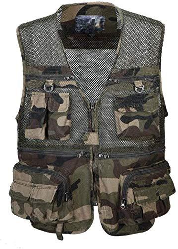 Gilet pour homme de la pêche, multifonction, chassdberg Taktik Filet camouflage amovible Vest Multi Poche centrale des hommes (Color : Camouflage, Taille : 3XL)