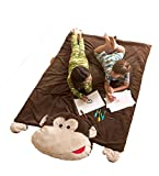 Jumbo Monkey Plush Nap and Play Reversible Floor Mat with Thick Padding and Attached Pillow, 71 L x 53 W