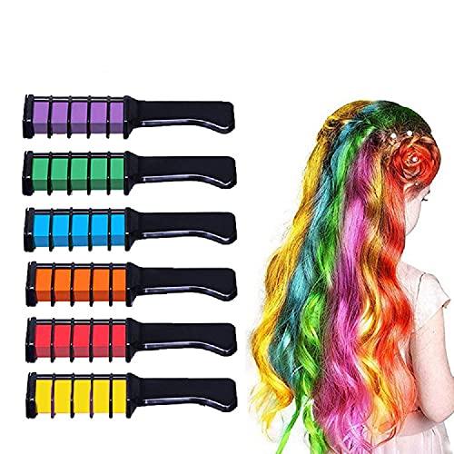 Lot de 6 peignes de coloration pour cheveux - Craies pour filles et enfants - Lavables et non toxiques - Pour carnaval, fête, Noël, Halloween