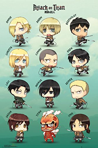 GB eye Poster Attack on Titan Chibi Personnages, Papier Glacé 150g, Multicolore, 61x91,5cm