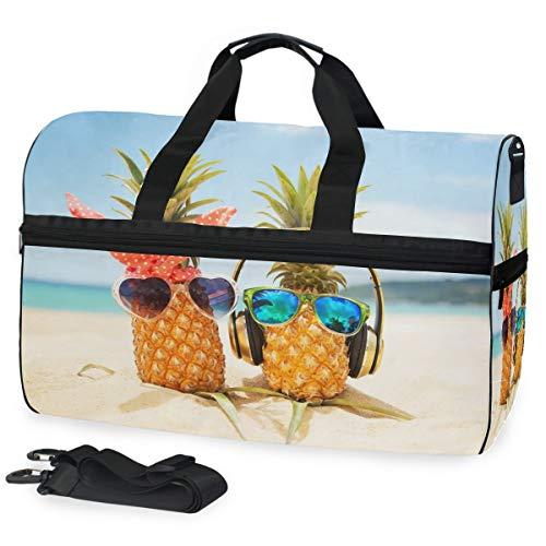 Oarencol Zwei Ananas Türkis 3D Sea Wearing Stilvolle verspiegelte Sonnenbrille Tropical Sommer Strand Reise Duffel Bag Overnight Weekender Tasche mit Schuhfach für Herren Damen