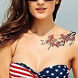 TAFLY Temporary Tattoo Red Flower Body Art Transfer Cherry Blossoms Tattoo Arm Sticker 5 Sheets