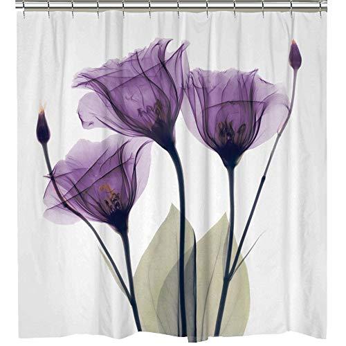 Famibay Duschvorhang 180x180cm Antischimmel Waschbar Lila Blume Duschvorhang mit 12 Haken für Badezimmer