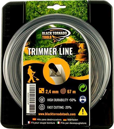 Hilo para desbrozadora - DOBLE - Cuadrado - 2,4mm - 67m - Calidad Ultra Professional - 2 hilos en 1- Embalaje Premium (2,4 mm x 67 m) Black Tornado Tools