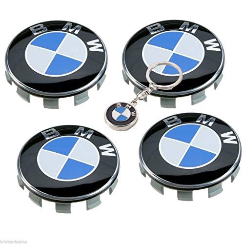 Tapacubos compatible Bmw 68mm 4 piezas + llavero GRATIS de calidad en Regalo Incluido, para llantas de aleación universal, tapas con logotipo para la serie 1 2 3 4 5 6 7 8 x1 X3 X4 X6 Z3 Z4
