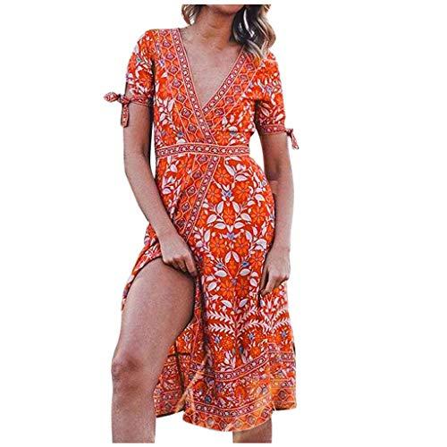 Briskorry Vestido de mujer para la playa, elegante, informal, línea A, vestido de manga larga, cuello en V, estilo bohemio, con borla, estilo túnica, mini vestido de cóctel naranja XL