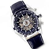 Lancardo Reloj Comercial Mecánico Automático con Dial Hueco de Metal Pulsera Casual de Moda con Correa de Acero Inoxidable para Viaje Negocios para Hombre (Negro)