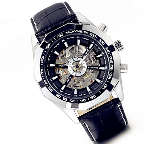Lancardo Reloj de pulsera mecánico automático para hombre, diseño de esqueleto, con correa de piel, color negro y plateado