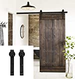 Erfect 6.6 FT Black Basic Wood Barn Door Hardware Steel Antique Style...