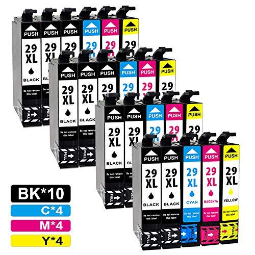 Jagute 29XL Compatibile Cartucce d'inchiostro Sostituzione per Epson XP-342 XP-245 XP-442 XP-345 XP-247 XP-445 XP-235 XP-432 XP-332 XP-335 XP-255 (10 Nero,4 Ciano,4 Magenta,4 Giallo)