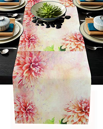 Libaoge Table Runner Washable Heat-Insulating Watercolor Dahlia Flower for Kitchen Dining Table Coffee Table Outdoor Party Decor 16x72in(41x183cm)
