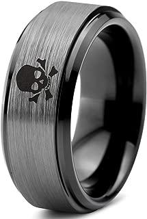 Skull Crossbones Pirate Ring - Tungsten Band 8mm - Men - Women - 18k Rose Gold Step Bevel Edge - Yellow - Grey - Blue - Black - Brushed - Polished - Wedding - Gift Dome Flat Cut